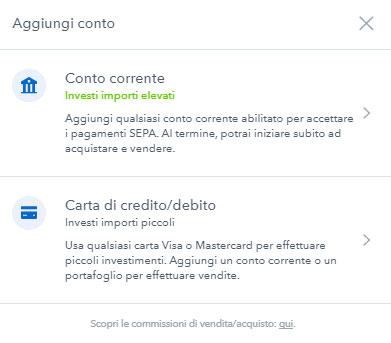 Aggiungere metodo di pagamento Coinbase