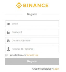 registrazione su binance