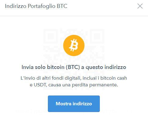 ricevere bitcoin su coinbase